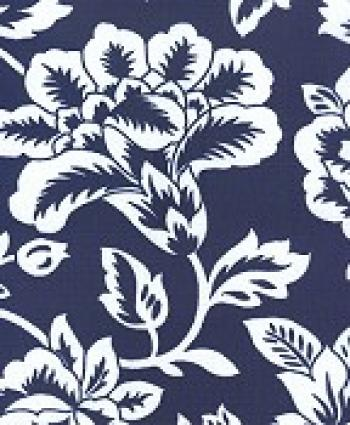 Floral Navy Modern Retro Flower Sun Navy White Outdoor Fabric OS574