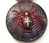 Vintage Art Deco Style Spider and Web Bohemian Glass Button