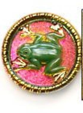 Vintage Frog Bohemian Glass Button LARGE