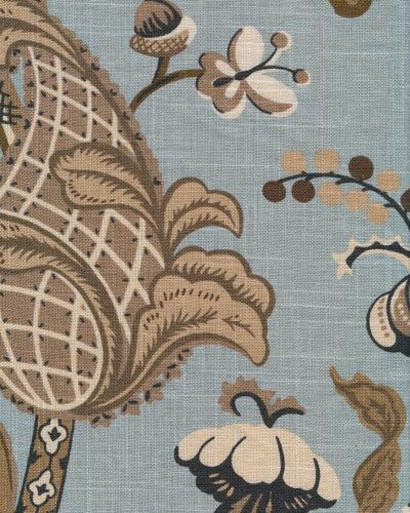 Jacobean Floral Block Print Crewel Work Print Large Scale Textured