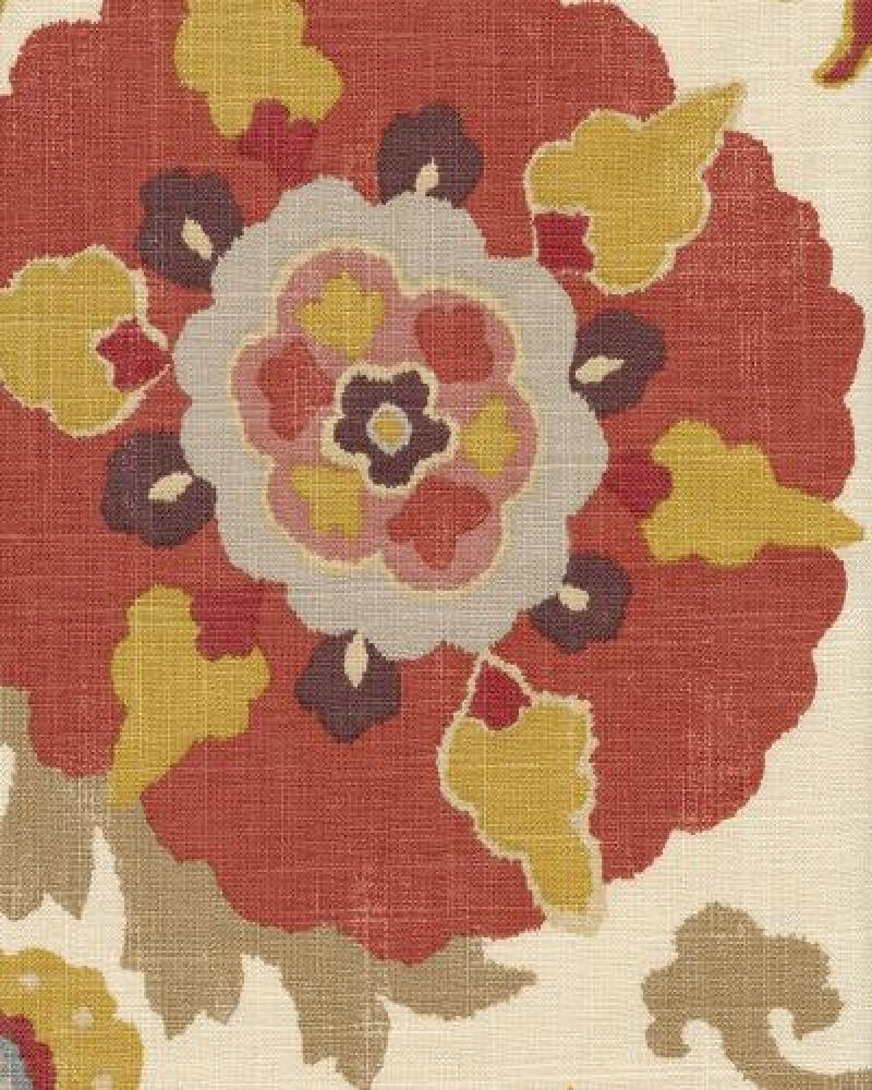 Suzani Bold Floral Modern Tribal FUN Textured Linen Fabric Drapery Fabric OSYM915