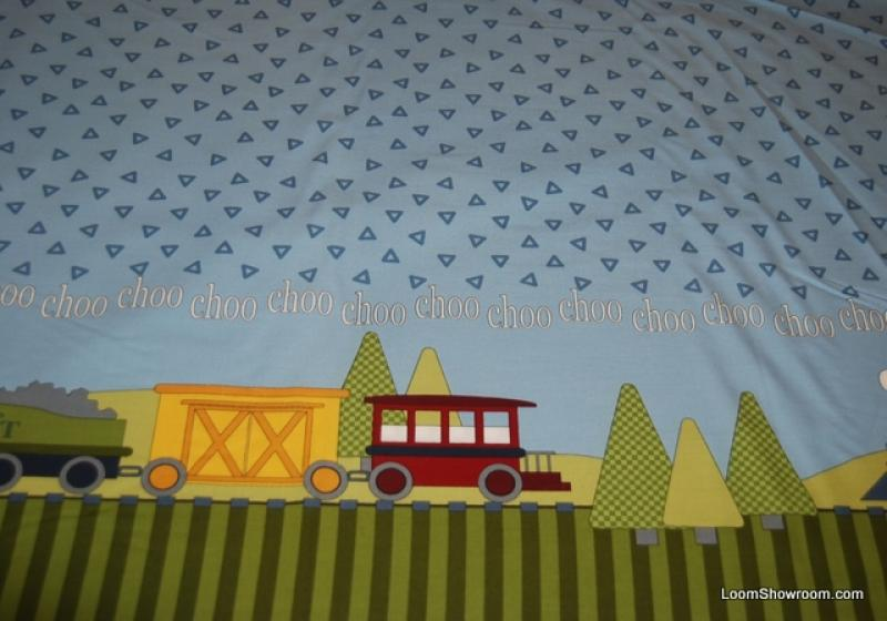 P106 Choo Choo Train Children's Trains Design Large Border Stripe with Sky background Cotton fabric Quilt fabric.