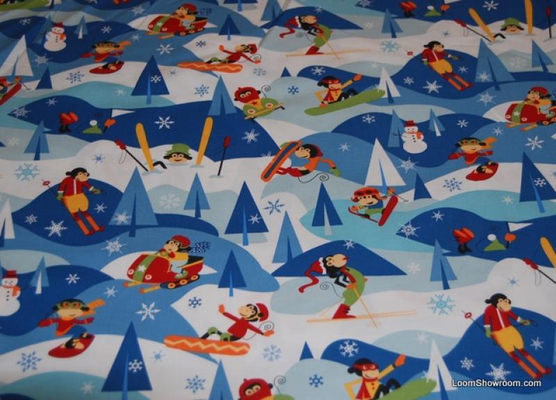 Olympic Ski Sale! Retro Ski Slope Skiing Monkeys and Snowmen Cotton fabric Quilt fabric P130