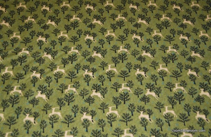 Folk Art Deer With Pine Trees Nature Forest Wildlife Cotton fabric ... : wildlife quilt fabric - Adamdwight.com