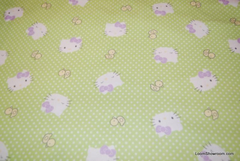 P150 Hello Kitty Lime Green background cotton fleece fabric quilt fabric