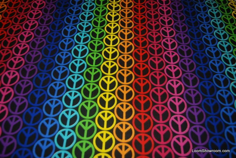 Peace Signs Multi Colored Black Cotton fabric Quilt fabric P160