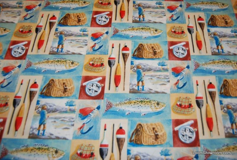 Fishing Vintage Sports Gone Fishing Lures Tackle Fishing Rod Bass Trout Lure quilt fabric cotton fabric P161