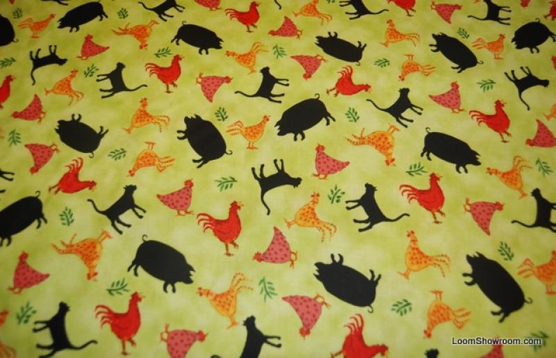 Fat Quarter! Joyful Days Farm Animals Pig Cat Chicken Fun Folk Art Cotton Fabric Quilt Fabric FQP165