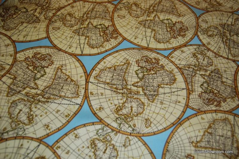 P167 Sailing Curriier and Ives Lithograph Map Navigation Globe World Travel Cotton Fabric Quilt Fabric