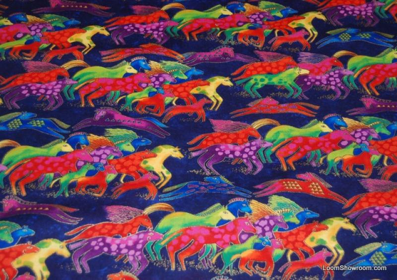 P56 Laurel Burch Horse Rainbow Horses Purple Green Red Blue Nature Animals Wildlife Cotton fabric Quilt fabric