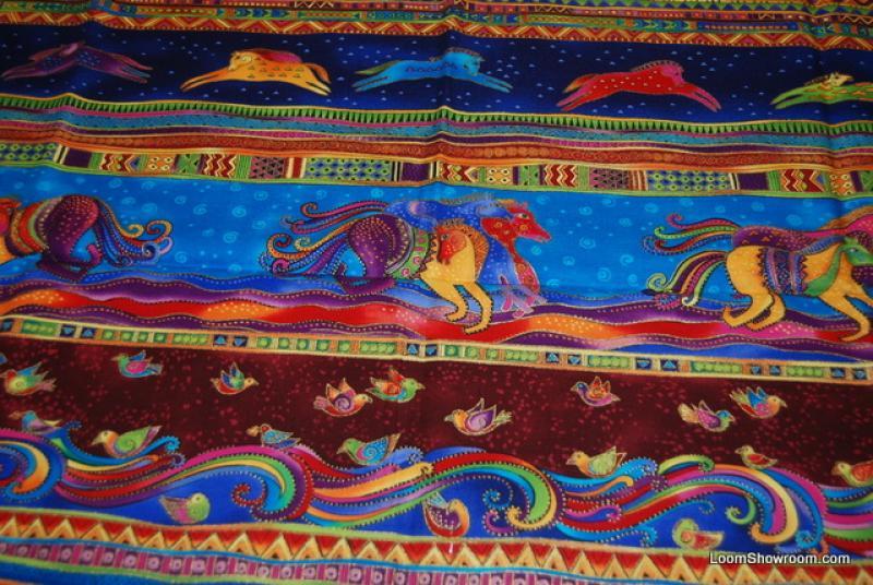 P57 Laurel Burch Horse Running Dancing Horses Quilt Fabric Cotton Fabric