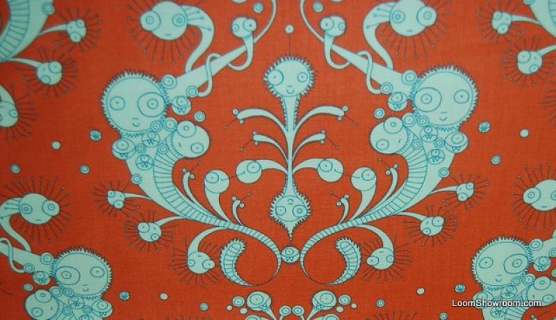 Germania Crazy Molecules Retro Modern Orange and Lime Weird Bugs ... : orange quilt fabric - Adamdwight.com