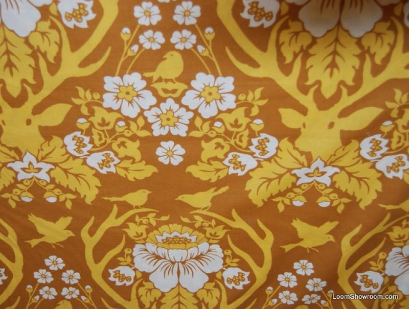 Joel Dewberry Silouhette Damask Style Deer Antlers Floral Pattern Cotton fabric Quilt fabric P70