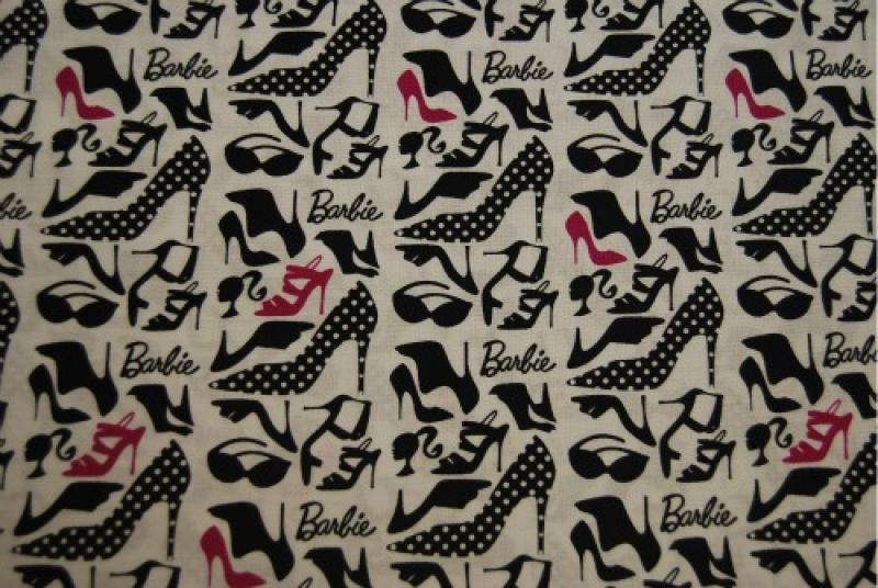 Q106 Barbie Shoes Barbie Doll High Heel Sunglasses and Cameo Cotton Fabric Quilt Fabric