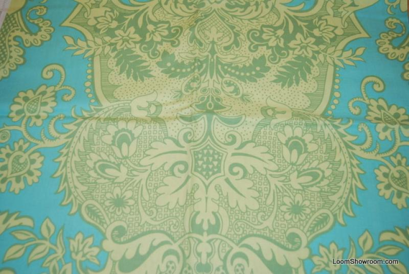 Amy Butler Q111 Amy Butler Floral Lime Green Light Blue background Cotton fabric Quilt fabric