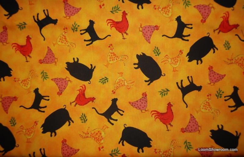 Pigs Chickens Farm Animal Country Print Cotton Fabric Quilt Fabric Q41
