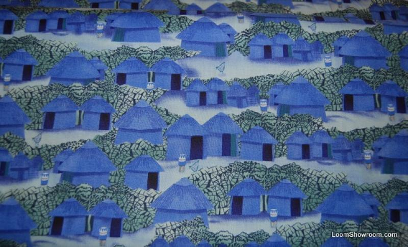 Q46 African Huts and Trees Africa Village Julia Cairns Bongo Drums Cotton Fabric Quilt Fabric