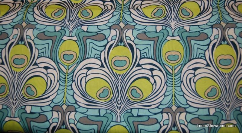 Q50 Art Nouveau Arts and Crafts Style Peacock Feather Bird Medallions Cotton Fabric Quilt Fabric
