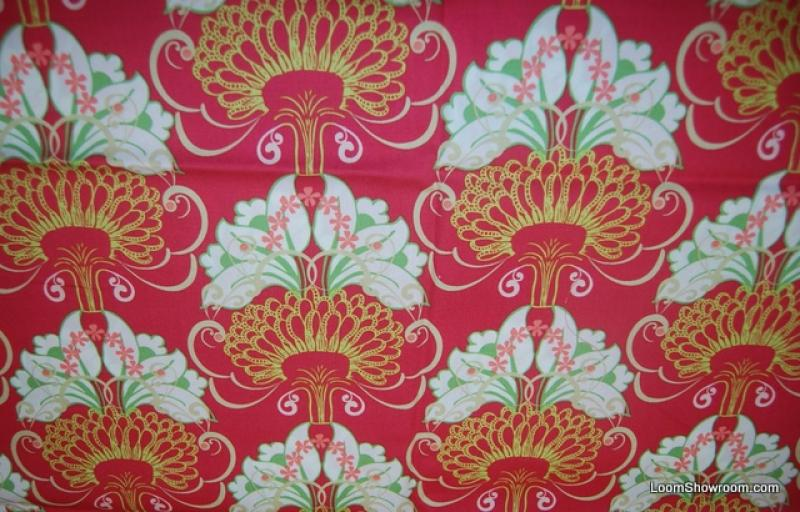 Arts and Crafts Morris Style Graphic Light Green Rose on Pink background Cotton fabric Quilt fabric Q52
