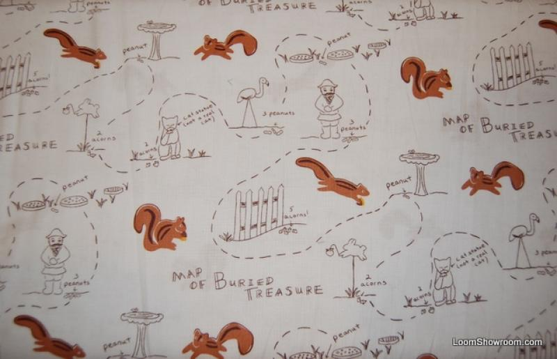 Q55 Buried Treasure Squirrels Treasure Map Cats Birds Flamingos Lawn Art HYSTERICAL CUTE Cotton Fabric Quilt Fabric