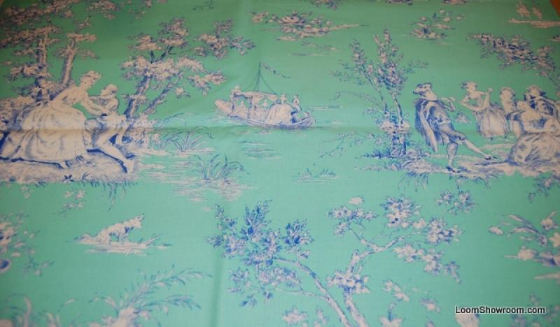 R10 Mod Girls Toile Jennifer Paganelli Turquoise and White Fun ... : toile quilting fabric - Adamdwight.com