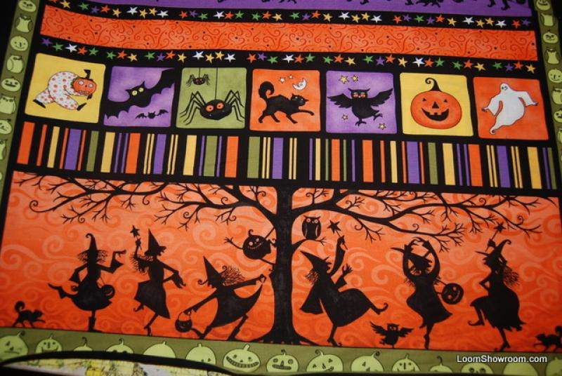 R104 Witching Hour Pumpkin Owl Spider Ghost Mummy Skeleton Paper Cut Halloween Cotton Fabric Quilt Fabric