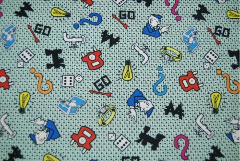 Monopoly Hasbro Chance Community Chest Character Logo Go to Jail Railroad Utility Cotton Fabric Quilt Fabric PC242