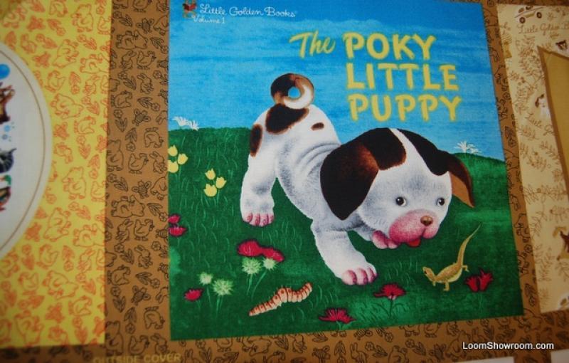 Little Golden Books Pokey Puppy Story Book Cotton Fabric Quilt