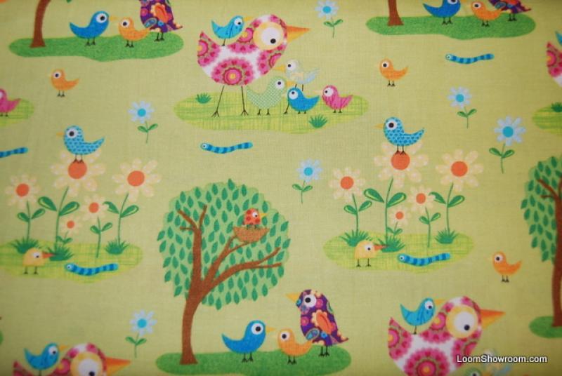 Retro Bird Ellen Crimi-Trent Green Birds Trees Flowers Worms Cotton Fabric Quilt Fabric FF137