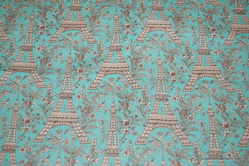 Last Piece! Eiffel Tower Paris France Vintage Print Quilt Fabric Cotton Fabric PCR154