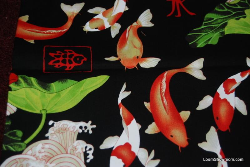 R159 Japan China Asia Koi Fish Wave Ocean Lotus Lilly Pad Cotton Fabric Quilt Fabric Black Background