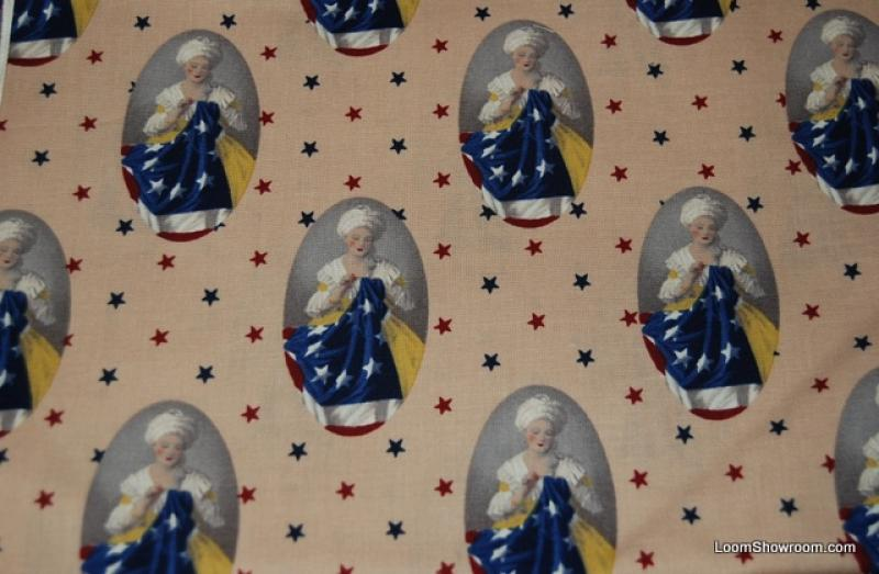 R162 Betsy Ross USA Flag Patriotic Cotton Fabric Quilt Fabric Antique Colorway