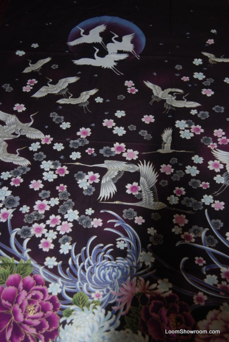 R183 Imperial Oriental Japan China Asia Crane Flower Floral ... : oriental fabrics for quilting - Adamdwight.com
