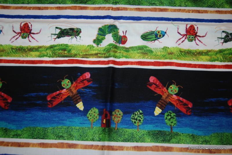 R192 Eric Carle Caterpillar Bugs Children's Book Retro Quilt Fabric Cotton Fabric Hungry Caterpillar