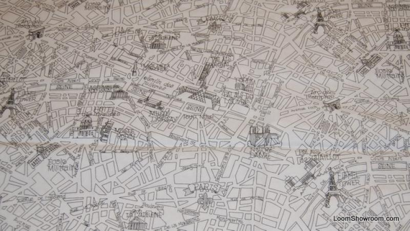 France Travel Retro Paris Map Streets Quilt Fabric Cotton Fabric R204