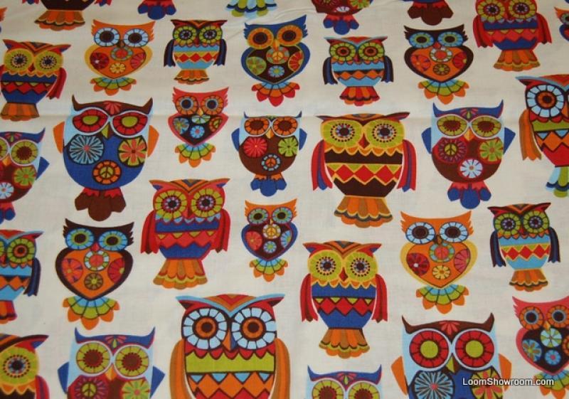 R207 Retro Vintage Owl Kitsch Bird Fun Quilt Fabric Cotton Fabric