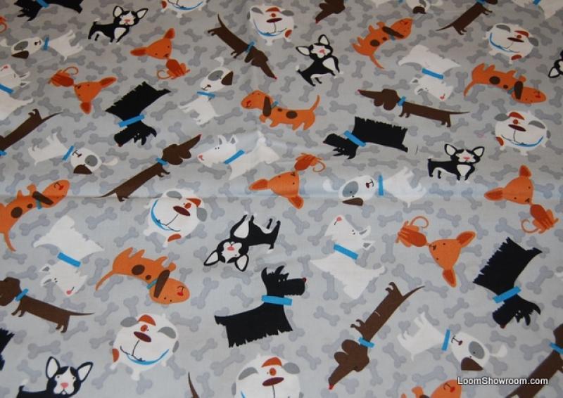 R209 Terrierific Cute Puppy Dog Chihuahua Beagle Boxer Bulldog Scottie Dogs and Bones Quilt Fabric Cotton Fabric