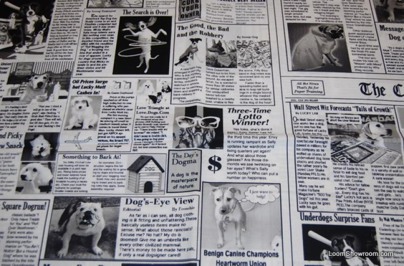 Canine Chronicles Crazy Newspaper Dog Puppy Quilt Fabric Cotton Fabric FT174