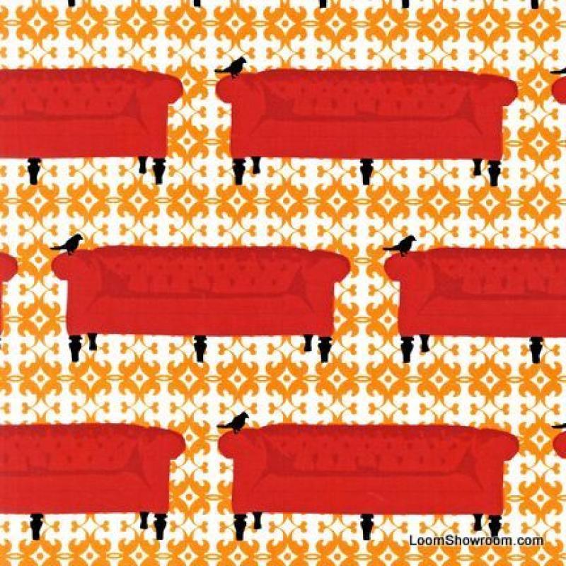 Last Piece! Tufted Tweets Modern Classic Sofa Furniture Bird Cotton Fabric Quilt Fabric PCR217