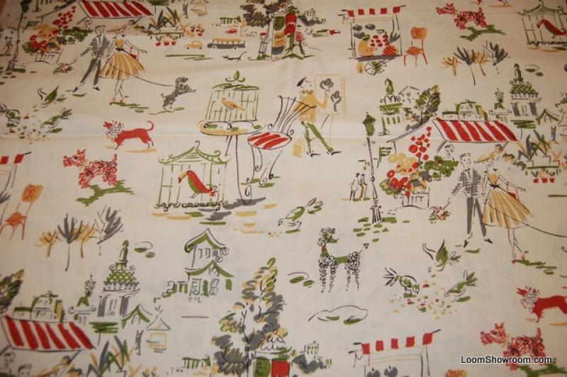 R22 Ooo-Lah-Lah Retro Vintage Paris Poodle Café Travel Print Kathy Hall Cotton Fabric Quilt Fabric