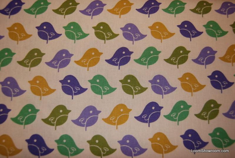 Retro Modern Bird Tweet Tweet Purple Green Yellow Birds Cotton ...