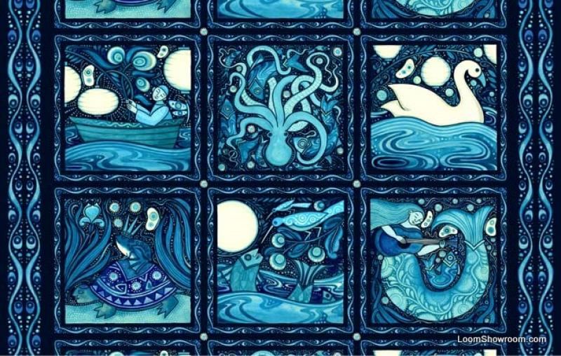 Oceanica Julie Paschkis Folk Art Sea Life Frog Prince Riding ... : mermaid quilt fabric - Adamdwight.com