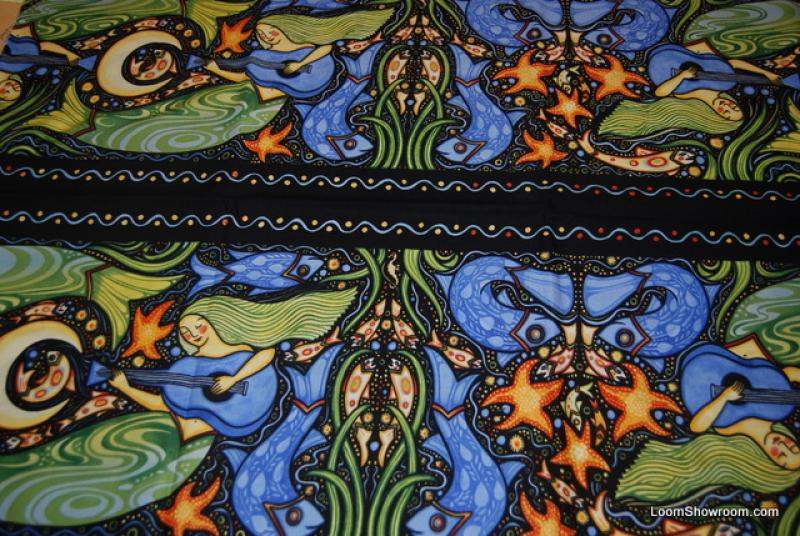 R239 Oceanica Julie Paschkis Folk Art Sea Life Border Stripe Strumming Mermaid Octopus Fish Black background Cotton fabric Quilt fabric