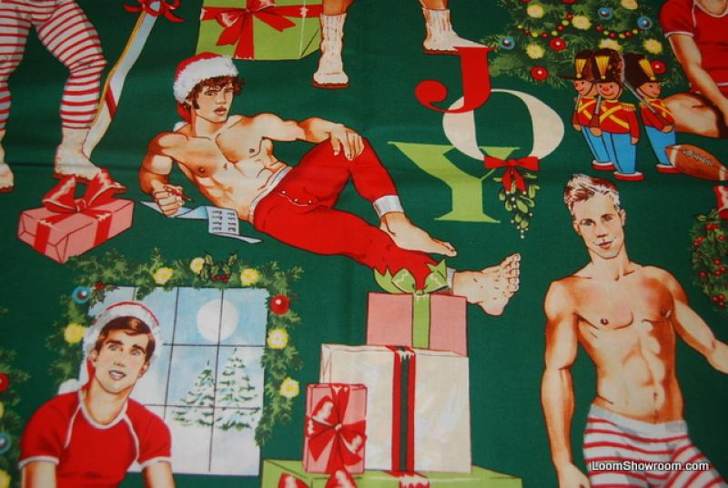 Sexy Pin Up Handsome Hunks Alexander Henry Stocking Stuffer All I Want for Christmas Green Cotton Fabric Quilt Fabric R249