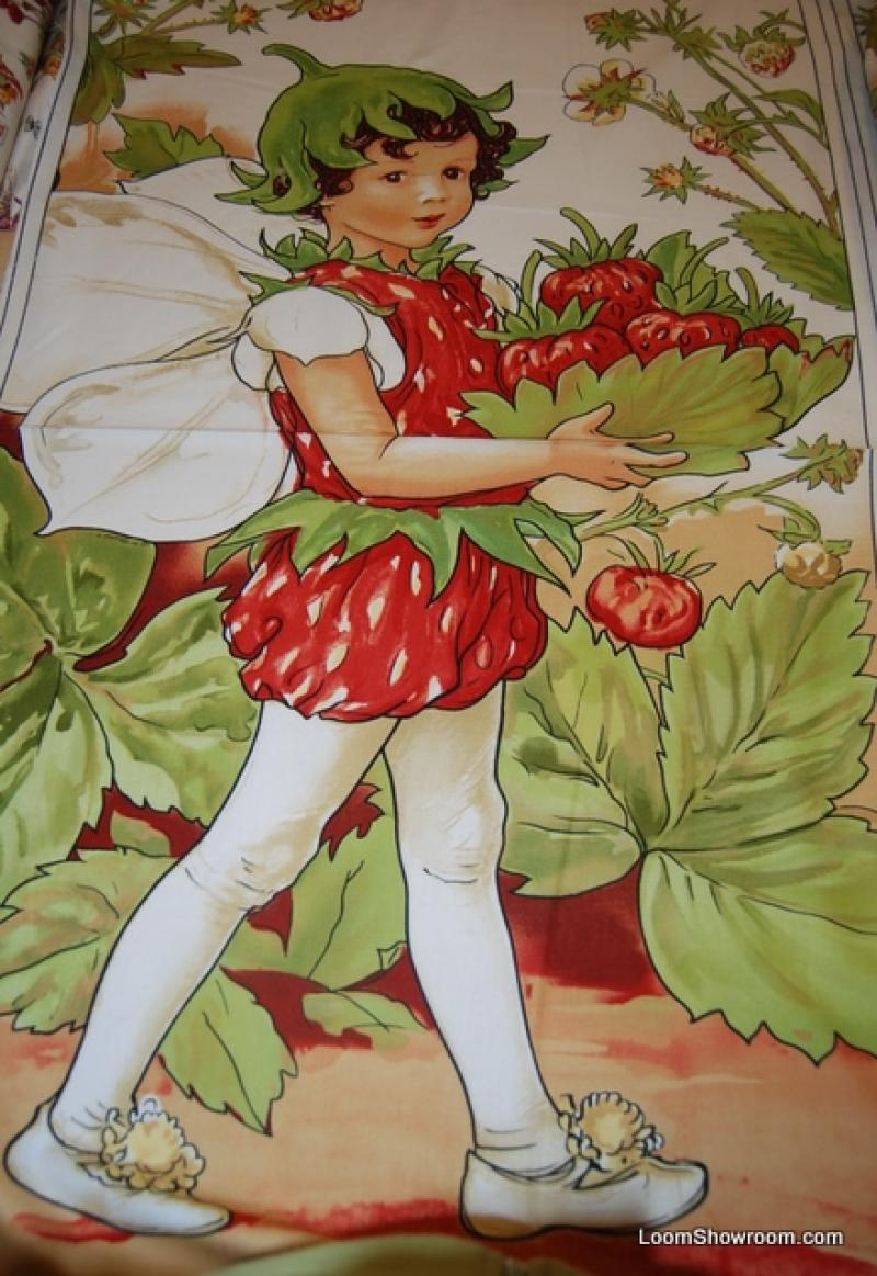 Flower Fairies Large Strawberry Cecily Barker Artwork Fairy Cotton Fabric Quilt Fabric R25