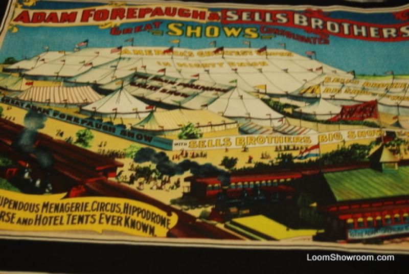 R255 PNL Circus Vintage Robbins Forepaugh Sells Brothers Christy  Doris Barnum Circus and Animal Show Poster Artwork Cotton Fabric Quilt Fabric Panel