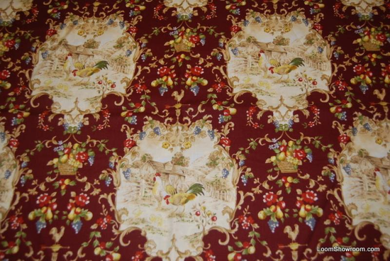 Vintage Country French Provincial Rooster France Floral Roosters Birds Red and Blue Flowers Cotton fabric Quilt fabric R258