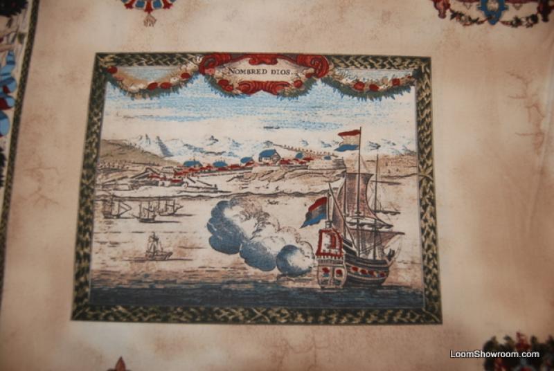Maps New World Sailboat Sailing Ship Map Adventure Compass Exploration Cotton Quilt Fabric FF79 R262
