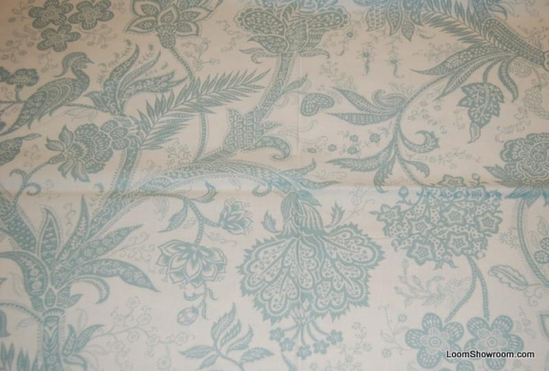 R297 Peacock Toile Bird Feather Light Blue Design Floral White background Cotton fabric Quilt fabric