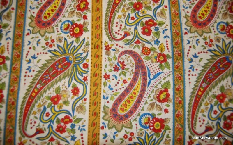 Provence France Country French Provincial Paisley Stripe Cotton Fabric Quilt Fabric R301